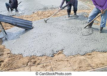 verser, ciment, floor.