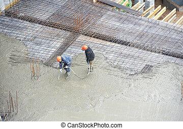 verser, constructeur, travail, ouvriers, béton