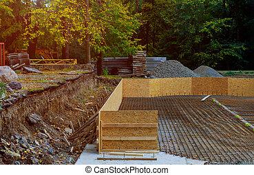 verser, fondation, bois, tranchée, formwork, préparation