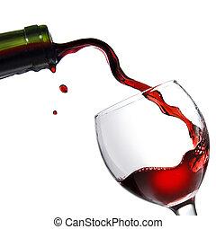 verser, gobelet, isolé, verre, blanc rouge, vin