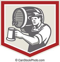 verser, grande tasse bière, barman, retro, baril, levage