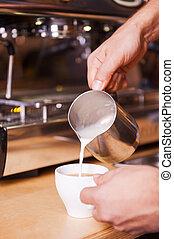verser, gros plan, coffee., tasse, image, café, confection, mâle, lait, barista