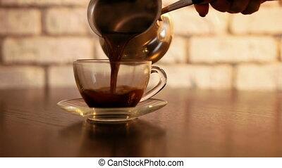 verser, moderne, cuisine, tasse, café
