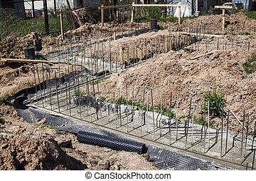 verser, nouveau, fondation, cérium, étape, bâtiment, premier