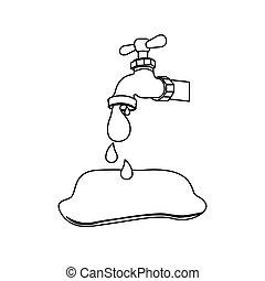 verser, robinet, silhouette, goutte, eau, dehors, icône