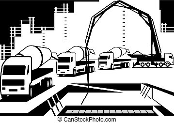 verser, site construction, béton