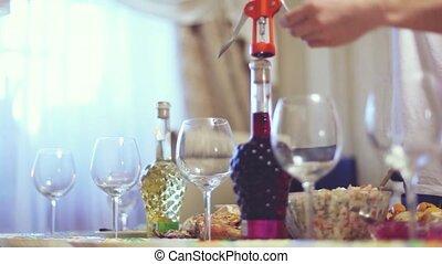 verser, table verre, servi, vin rouge