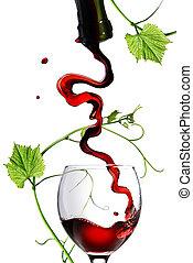 verser, tige, isolé, verre, blanc rouge, vin