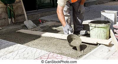 verser, trottoir, ouvrier, ciment, instalation