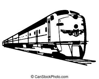 versión, vendimia, ilustración, tren, negro, exceso de...