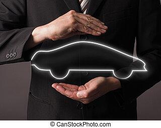 versicherung, auto, begriff