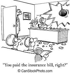 versicherung, banknote, schuldig, besorgt, doktor