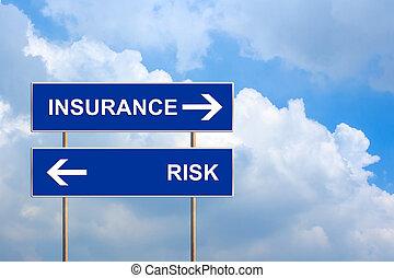 versicherung, und, risiko, auf, blaues, straße zeichen