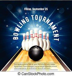 versieren, mal, toernooi, bal, flyer, bowling, skittles