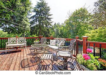 versieren stoelen, groot, tafel, thuis, open, exterior.