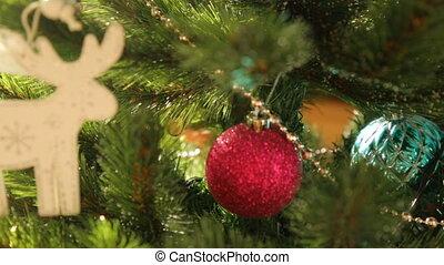 versiering, closeup, kerstboom