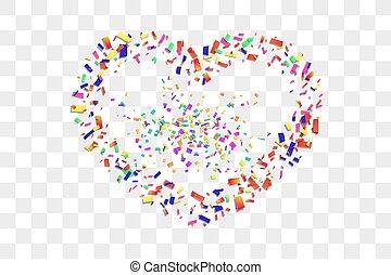 versiering, design., heart-shape., transparant, trouwfeest, valentines, achtergrond., vector, illustratie, witte , card., hart, vakantie, vrijstaand, dag, frame, grens, valentijn, confetti, herfst, confetti, romantische, rood, liefde