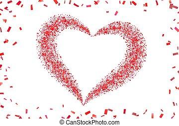 versiering, design., heart-shape., trouwfeest, valentines, achtergrond., vector, illustratie, witte , card., hart, vakantie, vrijstaand, dag, frame., grens, valentijn, groet, confetti, herfst, confetti, romantische, rood, liefde