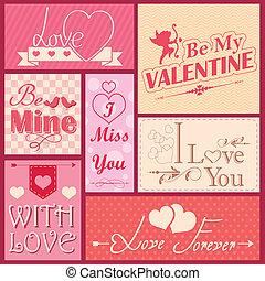 versiering, etiket, liefde, dag, valentine