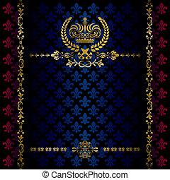 versiering, frame, kroon, luxe