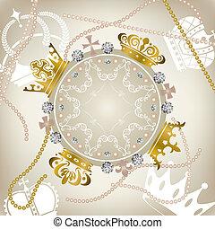 versiering, frame, kroontjes