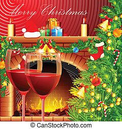 versiering, glas, kerstmis, wijntje