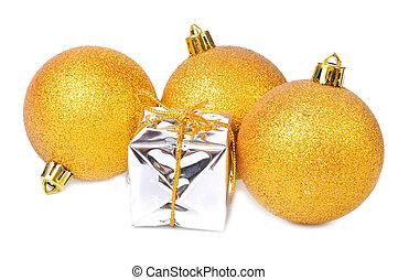versiering, gouden, kerstkado