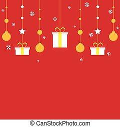 versiering, gouden, kerstmis, achtergrond, rood