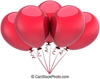 versiering, jarig, ballons, rood