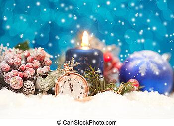 versiering, kaarsje, kerstmis