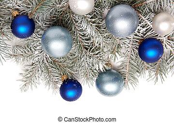versiering, kerstmis, besneeuwd