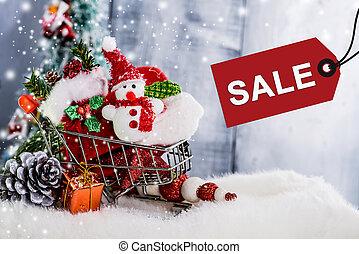 versiering, kerstmis, einde, verkoop, jaar