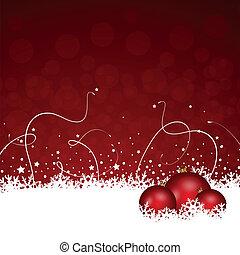 versiering, kerstmis, rood, besneeuwd