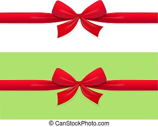versiering, lint, rood, geschenk buiging