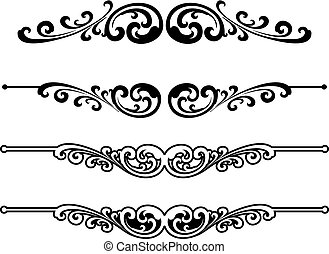 versiering, ontwerp, elements., calligraphic