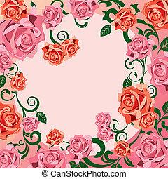 versiering, roos, frame