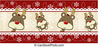 versiering, rudolph, spandoek, kerstmis