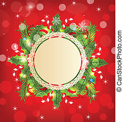 versiering, vakantie, begroetende kaart, kerstmis