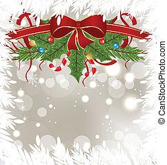 versiering, vakantie, ijzig, kaart, kerstmis