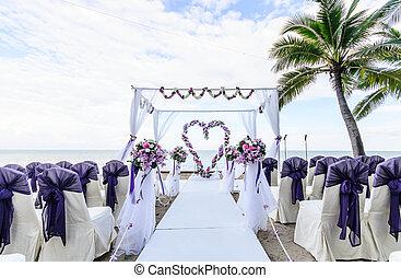versiering, van, trouwfeest, bloemen, in, hart, vorm.