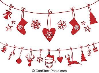 versiering, vector, set, kerstmis stocking
