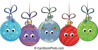 versieringen, 1, stylized, beeld, kerstmis
