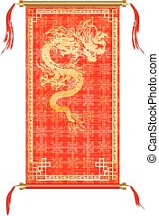 versieringen, goud, draak, boekrol, rood, aziaat