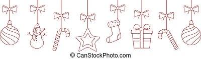 versieringen, kerstmis, achtergrond, hangend