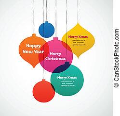 versieringen, -, kleurrijke, achtergrond, kerstmis