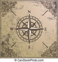 versieringen, kompas, rand, achtergrond, ouderwetse