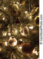 versieringen, op, kerstboom