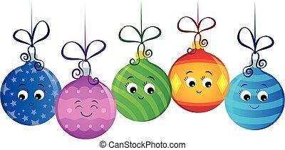 versieringen, stylized, beeld, 2, kerstmis