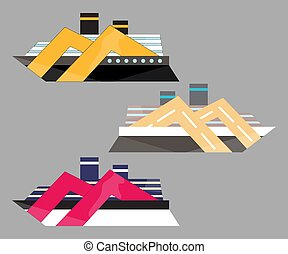 Version icon of cruise liner. Ship at sea, travel, water transport, boat and vessel. Flat vector illustration