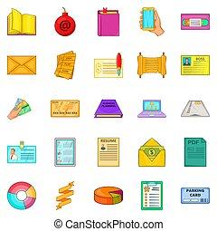 Version icons set, cartoon style